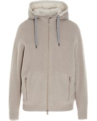 Brunello Cucinelli Layered Hooded Jacket - Natural