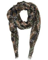 Valentino Vltn Camouflage Printed Scarf - Green