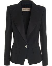 Alexandre Vauthier Jewel Button Tuxedo Blazer - Black