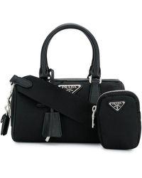 Prada Logo Plaque Mini Tote Bag - Black