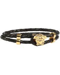 Versace Medusa Charm Woven Bracelet - Black