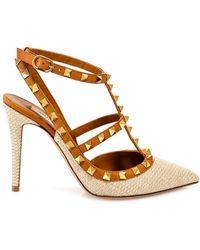 Valentino Garavani Rockstud Slingback Court Shoes - Natural