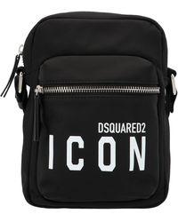DSquared² Icon Logo Printed Messenger Bag - Black