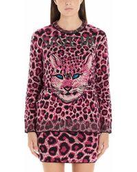 Alberta Ferretti Fuchsia Wool Cardigan - Pink