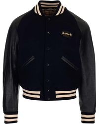 Gucci Logo-embroidered Wool And Leather Bomber Jacket - Black