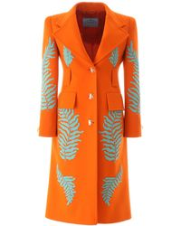 Prada Embellished Tailored Coat - Orange