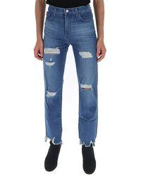 J Brand Ripped Slim Fit Jeans - Blue