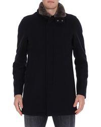 Herno Fur Collared Coat - Blue
