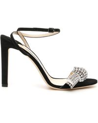 Jimmy Choo Thyra Embellished Suede Sandals - Black