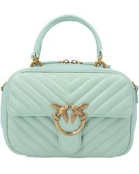 Pinko Love Square V Quilted Mini Tote Bag - Blue