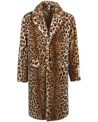 Palm Angels Animal Print Faux-fur Coat - Brown