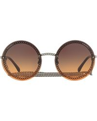 Chanel Round Frame Chain Sunglasses - Brown