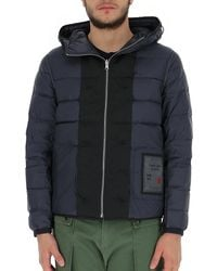 C.P. Company Hooded Panelled Puffer Jacket - Blue
