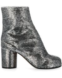 Maison Margiela Classic Tabi Ankle Boot Silver Sequin - Metallic