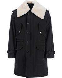 Alexander McQueen Parka With Shearling Collar - Black