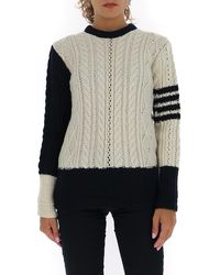 Thom Browne 4-bar Stripe Cable Knit Sweater - Multicolor
