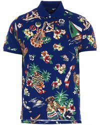 Polo Ralph Lauren Tropical Print Polo Shirt - Blue