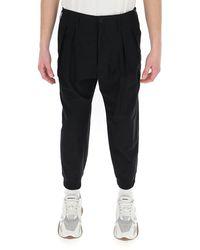 Yohji Yamamoto Pleated Ribbed Hem Trousers - Black
