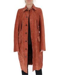 Rick Owens Suede Belted Trench Coat - Brown