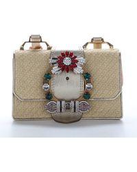 Miu Miu Madras Straw Shoulder Bag - Multicolour