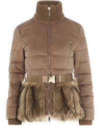 Elisabetta Franchi Faux Fur Belted Puffer Jacket - Brown