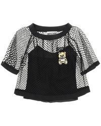Moschino Tulle Plumetis Top Teddy Embroidery - Black