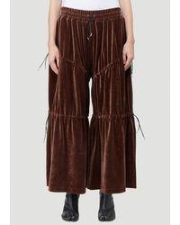 Telfar Velvet Wide Leg Trousers - Brown