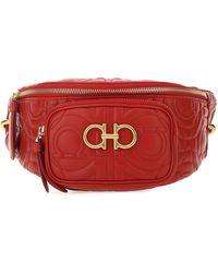 Ferragamo Gancini Quilted Belt Bag - Red