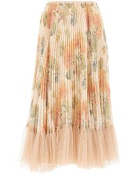 RED Valentino Redvalentino Tulle Trim Floral Pleated Skirt - Multicolour