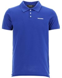 DSquared² Polo Shirt With Logo Print S Cotton - Blue
