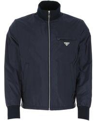 Prada Zipped Logo Plaque Jacket - Blue