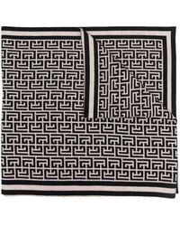 Balmain Monogram Pattern Scarf - Black