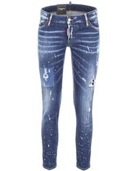 DSquared² Distressed Cropped Skinny Jeans - Blue