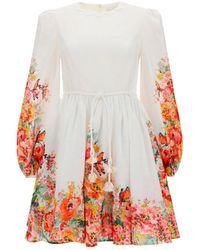 Zimmermann Mae Floral Print Puff Sleeve Mini Dress - White