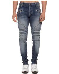 Balmain Biker Skinny Jeans - Blue