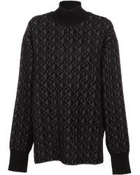Marine Serre Moon Lozenge Knit Sweater - Black