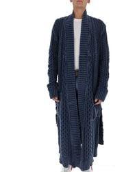 Greg Lauren Distressed Knitted Coat - Blue