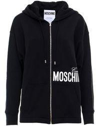 Moschino Logo Oversized Hoodie - Black
