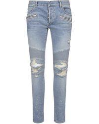 Balmain Ripped Skinny Jeans - Blue