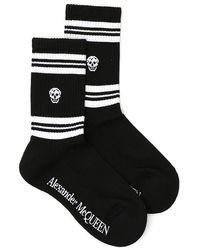 Alexander McQueen Stripe Skull Motif Socks - Black