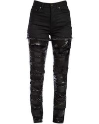 Saint Laurent Distressed Chainmail Jeans - Black