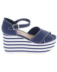 Miu Miu Striped Wedged Sandals - Blue