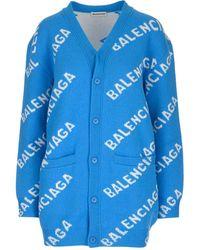 Balenciaga All Over Logo Cardigan - Blue