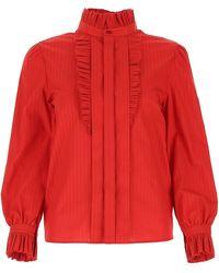 Saint Laurent Ruffled Shirt - Red