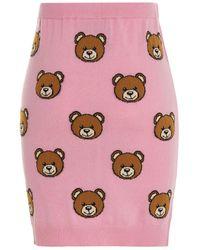 Moschino Logo Teddy Jacquard Mini Skirt - Pink