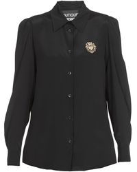 Boutique Moschino Logo Patch Buttoned Top - Black