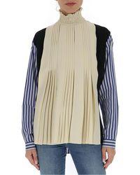 Prada Striped Sleeves Pleated Blouse - Multicolor