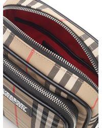 Burberry Messenger Bag With Check Motif - Natural