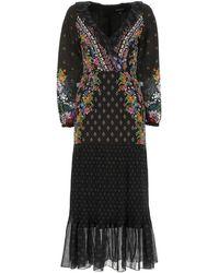 Saloni Floral Ruffle Maxi Dress - Black