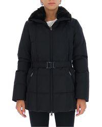Woolrich Fur-trim Belted Coat - Black